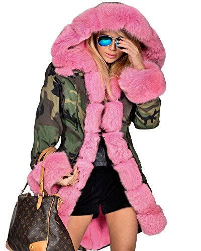 Roiii Pink Faux Fur Military Camouflage Women Hooded Outdoor Jacket Overcoat (Small, Pink) by Roiii