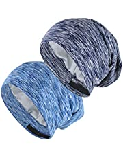 EINSKEY Satin Cap, 2-Pack Bamboo Fiber Sleep Cap Silk Lined Slouch Beanie Hat Indoor Hat Chemo Headwear for Men & Women