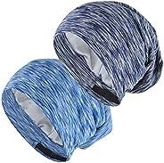 EINSKEY Satin Cap, 2-Pack Bamboo Fiber Sleep Cap Silk Lined Slouch Beanie Hat Indoor Hat Chemo Headwear for Me