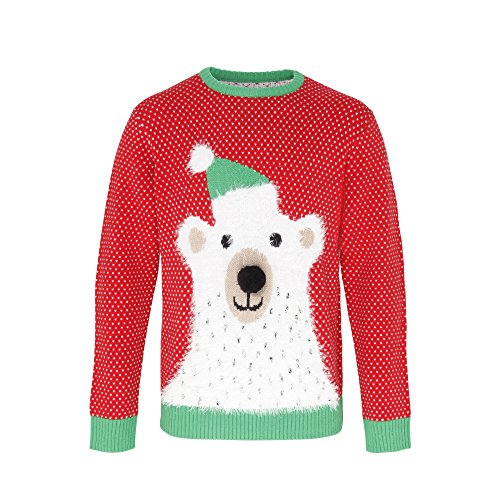 Christmas Shop Adults Unisex Polar Bear 3D Nose Christmas Sweater/Sweatshirt (M) (Red / White /Green) (Rugby Christmas Jumper)