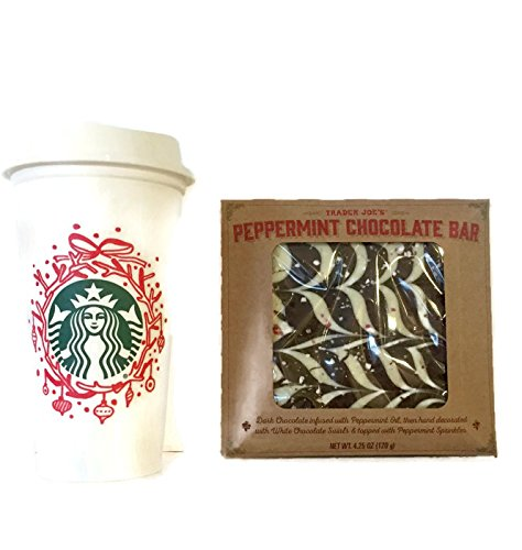 Starbucks 2016 Collectable Holiday Reusable Travel To Go Coffee Tumbler Cup (Grande 16 Oz) And Trader Joe's Peppermint Chocolate Bar With White Swirls and Sprinkles Bundle. Perfect Any day Gift