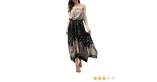 2c7d5b6cb5 Là Vestmon Boob Tube Bandeau Dress Summer Beach Dress Strapless Floral Maxi  Dress: Amazon.ca: Clothing & Accessories