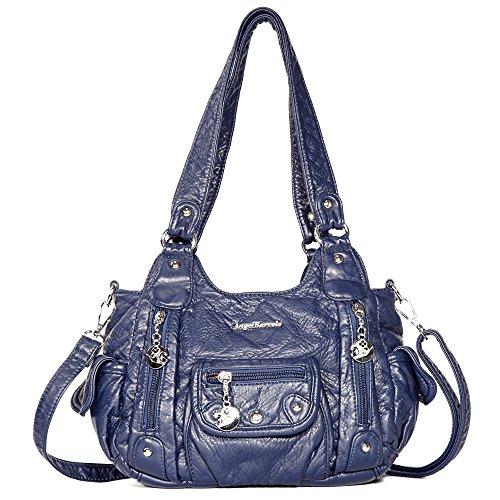 Handbag Hobo Women Bag Roomy Multiple Pockets Street ladies' Shoulder Bag Fashion PU Tote Bag (XS161496 Blue)