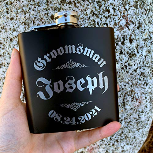 Personalizedgiftland Personalized Flask, Set Of 6 - Customized Flask Groomsmen Gifts For Wedding Favors, Personalized Groomsman gift - Stainless Steel Engraves Flasks w Gift Box Options - 6oz, Black by PersonalizedGiftLand (Image #1)