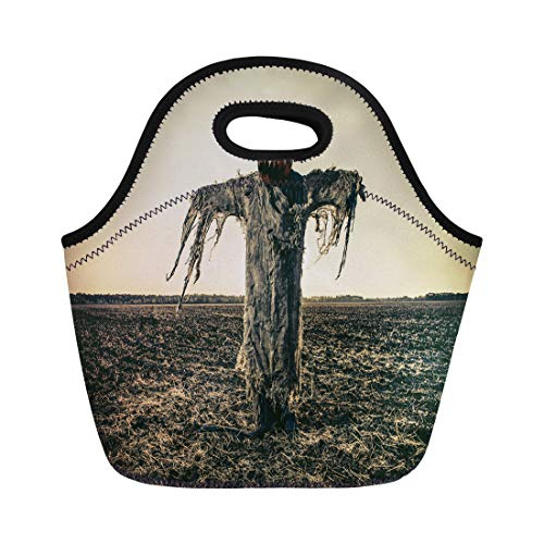 Semtomn Neoprene Lunch Tote Bag Halloween Legend Portrait of Jack Lantern Pumpkin on His Reusable Cooler Bags Insulated Thermal Picnic Handbag for Travel,School,Outdoors,Work -