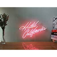 Hotel California Real Glass Neon Sign For Bedroom Garage Bar Man Cave Room Home Decor Handmade Artwork Visual Art Dimmable Wall Lighting Includes Dimmer