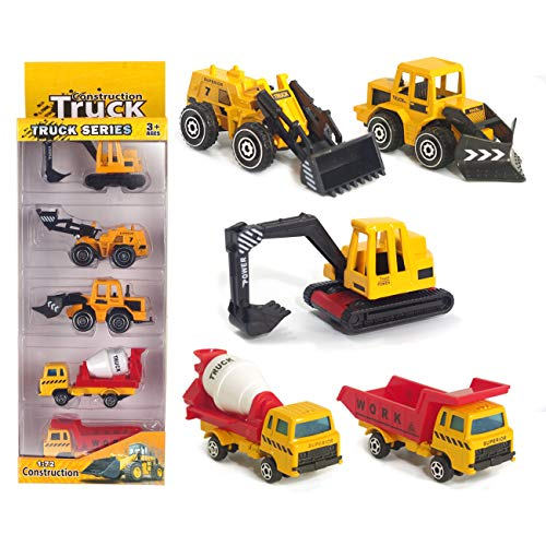 Construction Mixer Truck - U DREAM Construction Vehicles for Kids Toys, 5 Assorted Mini Diecast Trucks Excavator Loader Bulldozer Dump Cement Mixer, Tiny Toys for Toddlers Boys and Girls, Construction Cake Topper Party Favors
