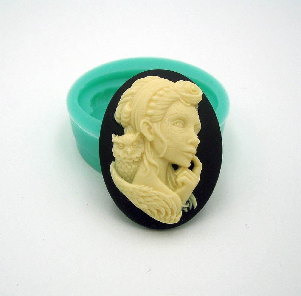 Resin Findings Stop Brand Silicone Mold Goth Owl Cameo Flexible for Crafts Scrapbooking Polymer Clay Jewelry