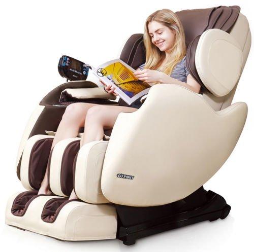 Electric Full Body Shiatsu Massage Chair Recliner Zero Gravity I Track 3yr Warranty! (Beige)