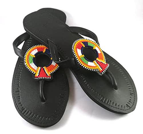 5b0618cc22c67 African Flat and Slim Womens Summer Shoes with Multicolored Leather Beaded  Leather Disc