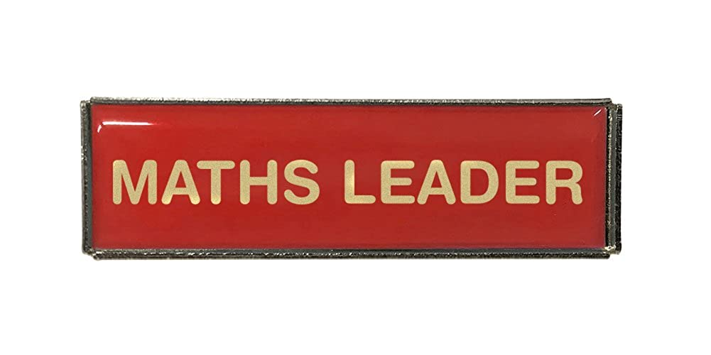 Maths Leader Rectangle Polydome Budget Badge Silver Finish