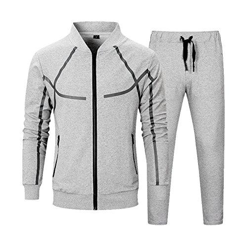 MANTORS Men's Full Zip Tracksuit Set Casual Jogging Athletic Sweat Suits Beige Gray ()