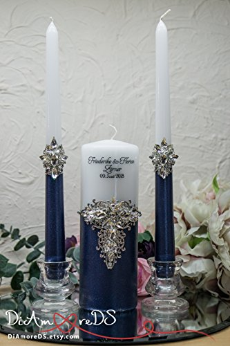 andle Set for Wedding, Navy Blue Wedding Candles, Wedding Décor, Wedding Set, Unity Ceremony, Pillar Candles, Gift Ideas ()