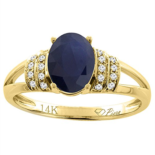 (14K Yellow Gold Natural Blue Sapphire Ring Oval 8x6 mm Diamond Accents, size 10)