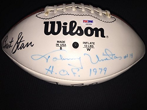 Johnny Unitas Bart Starr Jerry Rice Gale Sayers +2 signed football autograph - PSA/DNA Certified - Autographed - Unitas Johnny Autograph
