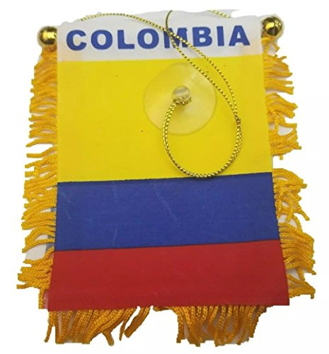 Colombia flag Mini banner rearview mirror window car Home Colombian (Colombia Car)