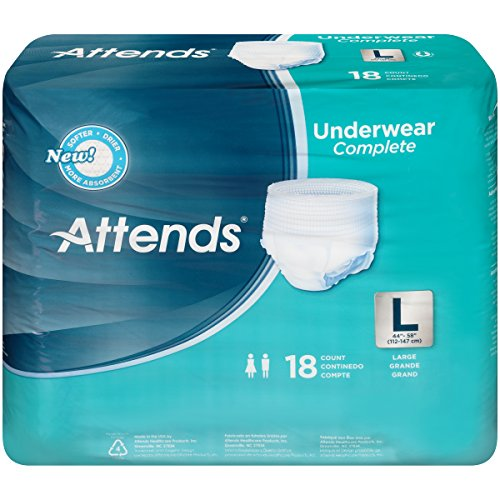 Attends Advanced Protective Underwear with Advanced DermaDry Technology for Adult Incontinence Care, Large, Unisex ,  18 Count (Pack of 4)
