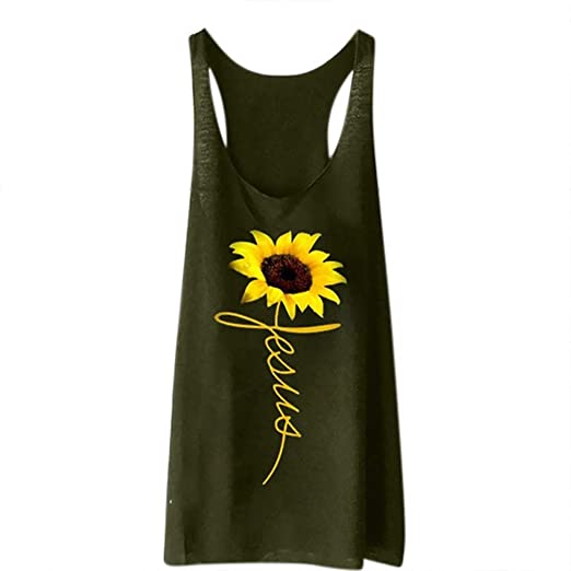 86e48946bada48 Tank Top for Women Fashion Sunflower Printed Shirts Sleeveless Racerback  Tunic Tank Camisoles Tee (S