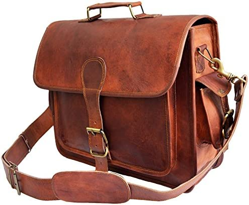 16 leather messenger bag laptop case office briefcase gift for men computer distressed shoulder bag