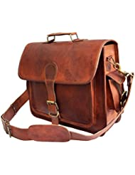 Mens Genuine Leather messenger bag for 15.6 laptop shoulder bag briefcase satchel gift