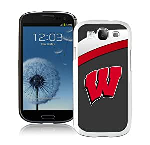 Hot Sale And Popular Samsung Galaxy S3 I9300 Case Designed With Ncaa Big Ten Conference Football Wisconsin Badgers 14 White Samsung Galaxy S3 Phone Case