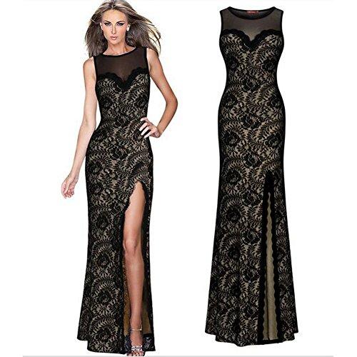 Formal Duolaimi Party Dress Lace Sleeveless Evening Side Split Women's Black rUrqw60