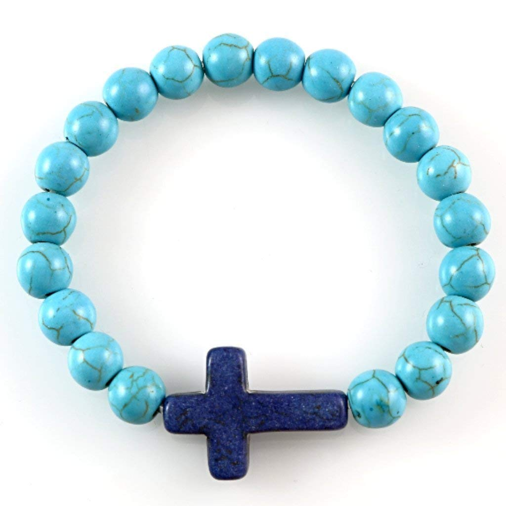 Turquoise 8mm Round Beads with Dark Blue Christian Cross Charm Jesus Religious Stretch Bracelet 6.7''