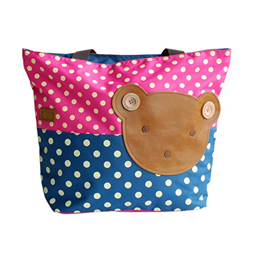 5 À Applique Sac Blancho rosered bear big Taille nbsp; 5 nbsp; 16 Art 5 Main Tissu Enfants 6 shopper Bag 12 04WngfTn