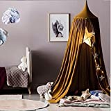 LiCheng Mosquito Net Canopy Cotton Cloth Round Dome,Hanging Bed Canopy Curtains For Twin,Queen &Full Size Bed Brown