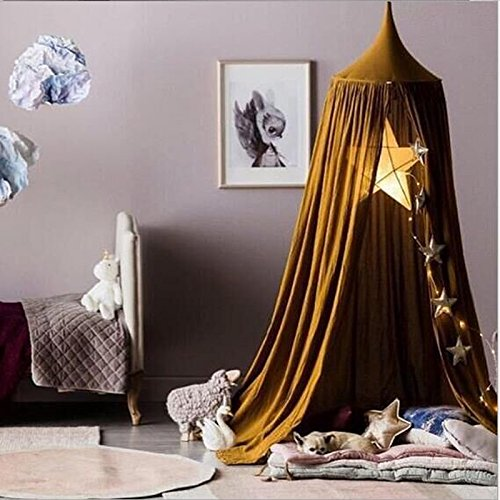 LiCheng Mosquito Net Canopy Cotton Cloth Round Dome,Hanging Bed Canopy Curtains For Twin,Queen &Full Size Bed Brown by LiCheng Bridal