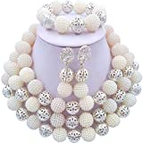 laanc Womens Popular Silver Plated 3 Rows Nigerian Beads African Wedding Bridal Jewelry Sets