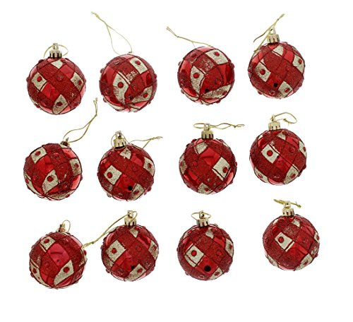 Elegant Holiday Christmas Glitter Shiny Shimmering Rhinestone Jeweled Round Ball Ornaments, Red & Gold, Small, Set of 12, (Country Christmas Ornaments)