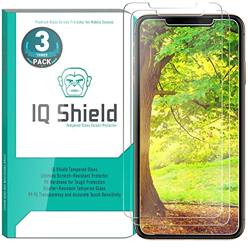 Apple iPhone XS Max Screen Protector (6.5)(3-Pack), IQ Shield Tempered Ballistic Glass Screen Protector for Apple iPhone XS Max 99.9% Transparent HD and Shatter-Proof Shield