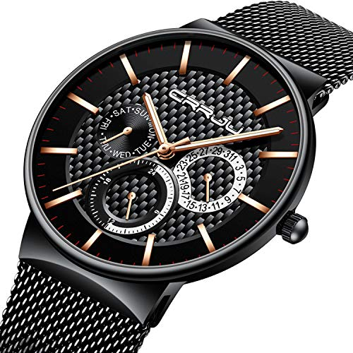 Mens Watch Ultra-Thin Case Black Milanese Mesh Sub Dial Analogue Quartz Watch Calendar Waterproof Business Design Casual Dress Watch - Gold Hand Dress Black Dial Mesh Band