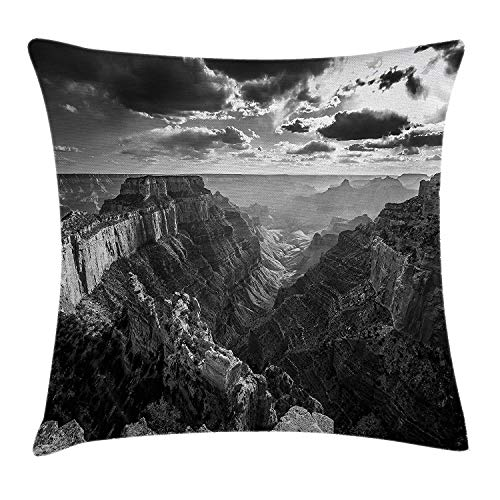 WCMBY House Decor Throw Pillow Cushion Cover by, Photo of Cape Royal Deep and Long Grand Canyon Gorge North Rim with Misty Sky Image, Decorative Square Accent Pillow Case, 18 X 18 Inches, Grey