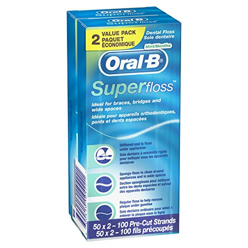 Oral-B Super Floss Pre-Cut Strands, Mint, 50 Count twin pack
