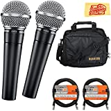 Shure SM58-LC Cardioid Dynamic Vocal Microphone Bundle with Two Mics, Gearlux Mic Bag, XLR Cables, and Austin Bazaar Polishing Cloth