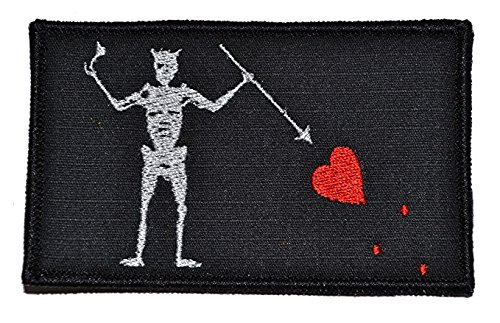 Antrix Black Beard Pirate Edward Military Morale Patch Hook & Loop Tactical Pirate Flag Morale Patch - 3.15