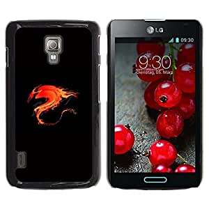 Be Good Phone Accessory // Dura Cáscara cubierta Protectora Caso Carcasa Funda de Protección para LG Optimus L7 II P710 / L7X P714 // Flame Flaming Fire Tribal Dragon