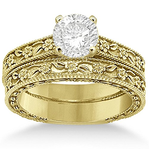 - Carved Flower Engagement Ring and Wedding Band Bridal Set with carved floral details 18K Yellow Gold