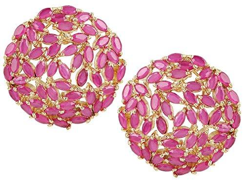 Ratnavali Jewels Yellow Gold Tone Green Cubic Zirconia Shinning Party Bold Stud Earrings