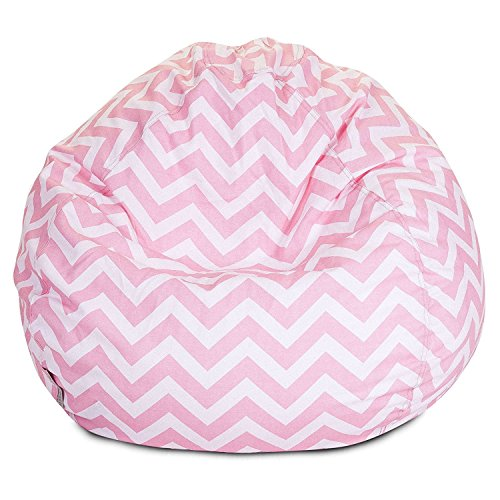 Majestic Home Goods Classic Bean Bag Chair - Chevron Giant Classic Bean Bags for Small Adults and Kids (28 x 28 x 22 Inches) (Baby Pink)