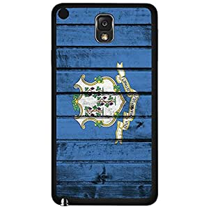 Connecticut State Flag with Arms of the State Blue Wood Background Hard Snap on Phone Case Cover Samsung Galaxy Note 3 N9000