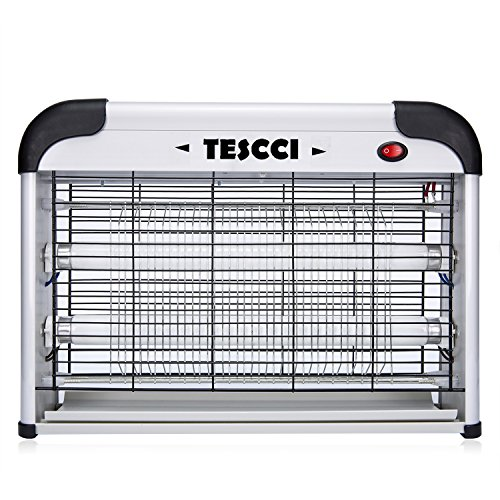 TESCCI 20W Electronic Bug Zapper - Insect, Fly, Mosquito Killer and Zaps Other Insects Attracted by UV Light (Grey)