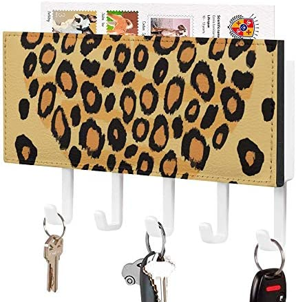 Key Holder, Wall Mounted Key Hook, Heart Shape Leopard Spotted Animal Theme Print, Wall Entryway Mail Holder, Decorative Key Organizer Rack with 5 Hooks
