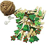 [Tree] 50 Pcs Cute Wooden Photo Clips Craft Photo Paper Pegs Clothespins