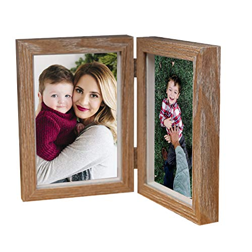 AlexBasic MDF Wood Double Picture Frame 4''x 6'' with Glass Front, Dual Picture Frame Fit for Desktop Home Office, Brown ()