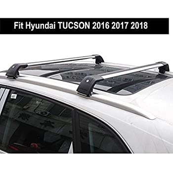 KPGDG Fit for Hyundai Tucson 2016 2017 2018 Lockable Baggage Luggage Racks Roof Racks Rail Cross Bar Crossbar - Silver