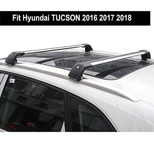Fit for Hyundai TUCSON 2016 2017 2018 Lockable Baggage Luggage Racks Roof Racks Rail Cross Bar Crossbar - Silver