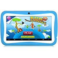 HD 7 Inch Kids Edition Tablet, Hipo Android 4.4 Kids Pad Tablet With Wifi and Dual Camera 512MB/8GB Quad Core Pre-installed Kids APPS IPS Display Touch Screen Kids-proof Silicone Case With Stand-Blue